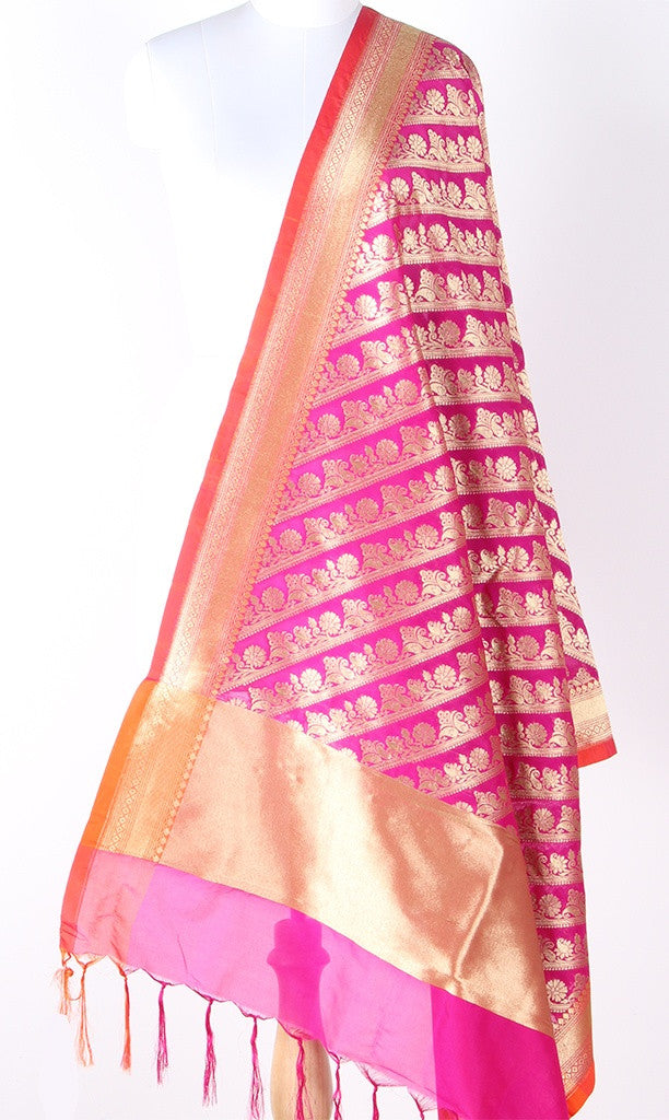 Pink Art Silk Banarasi Dupatta with diagonal floral jaal and orange edge SSJB01N109 (1) Main
