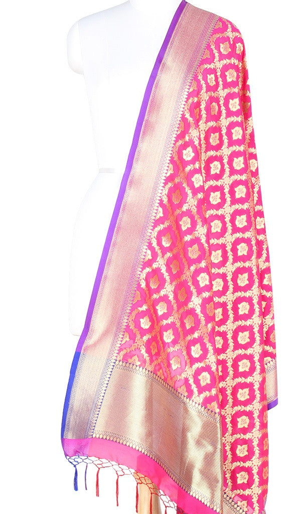 Pink Art Silk Banarasi Dupatta with floral jaal and bud motifs PCRVDAS101 (1) Main