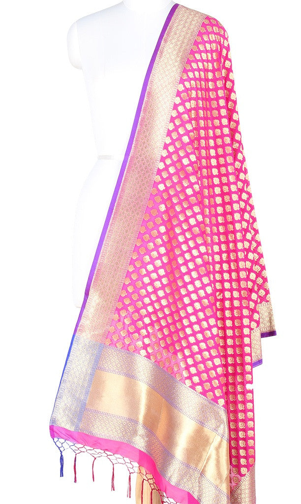 Pink Art Silk Banarasi Dupatta with mini flower motifs PCRVDAS130 (1) Main