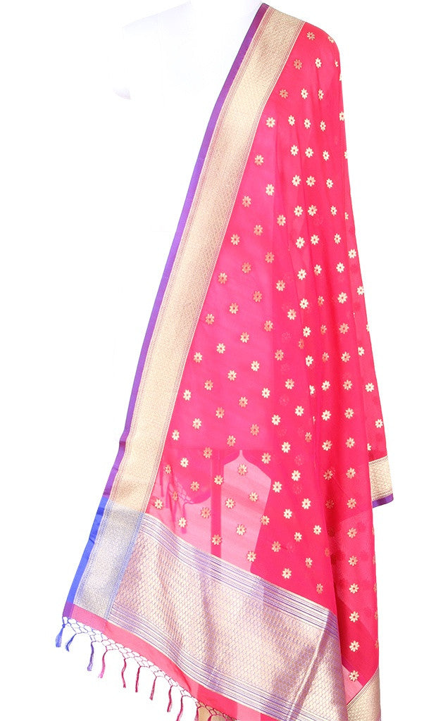 Pink Art Silk Banarasi Dupatta with mini flower motifs in gold zari SSRVDAS593 (1) Main