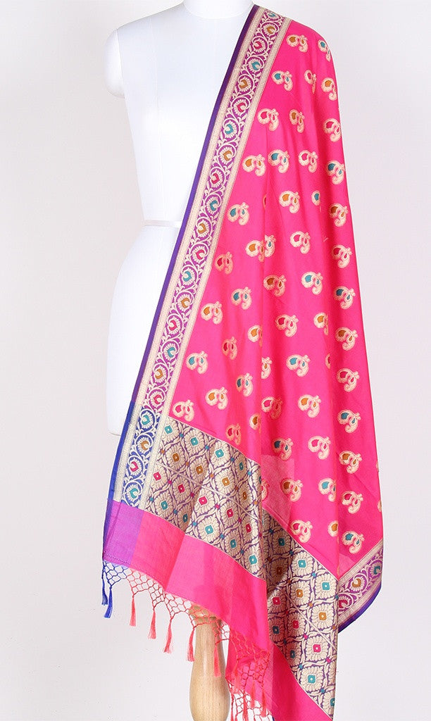 Pink Art Silk Banarasi Dupatta with multi color peacock motifs PCRVDAS01TMP03 (1) Main