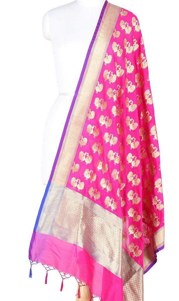 Pink Art Silk Banarasi Dupatta with peacock motifs PCRVDAS301 (1) Main