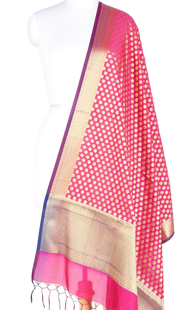 Pink Art Silk Banarasi Dupatta with polka dots and zari work PCRVD01N46 (1) Main