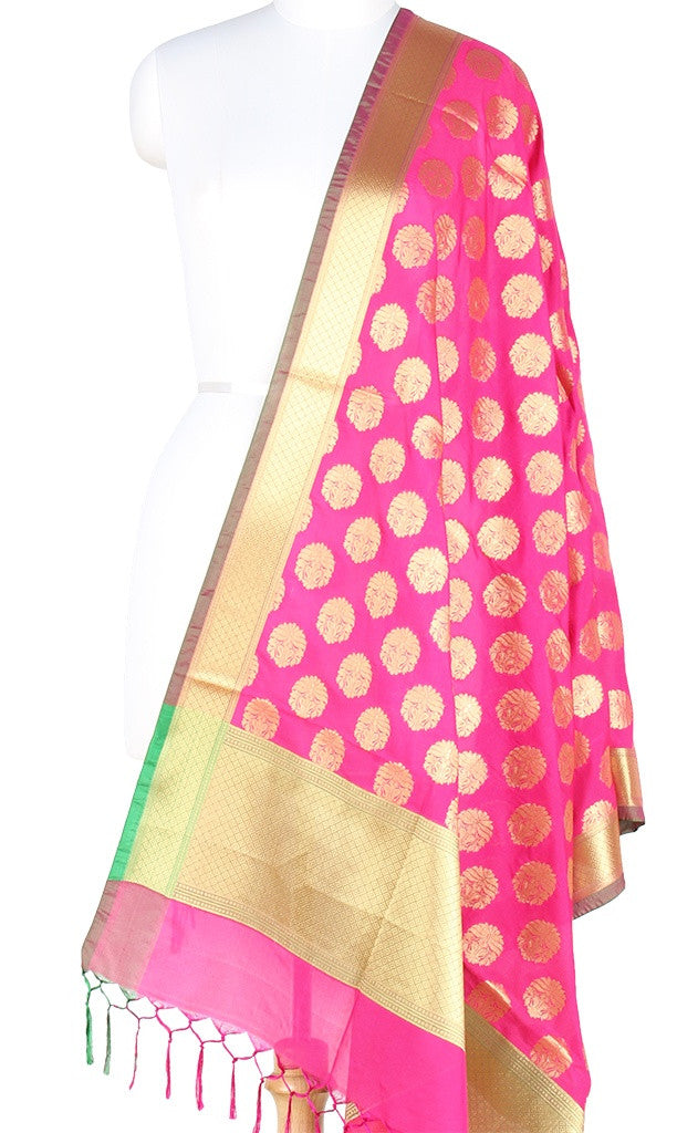 Pink Art Silk Banarasi Dupatta with stylized boota and green edge PCRVD01N42 (1) Main