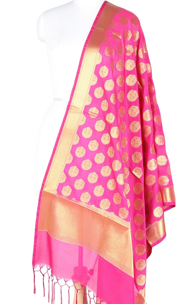 Pink Art Silk Banarasi Dupatta with stylized motifs and pink edge PCRVD01N63 (1) MAIN