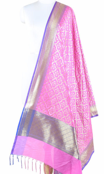 Pink Art Silk Banarasi Dupatta with zig zag grid pattern jaal PCVB01AS07 (1) Main