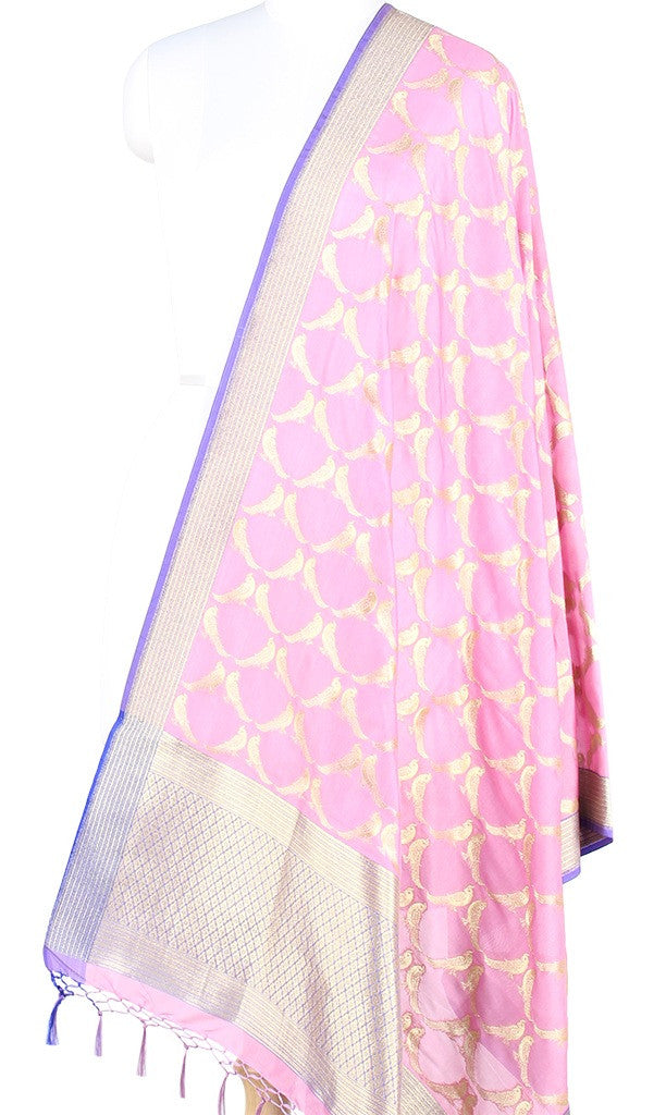 Light Pink Art Silk Banarasi dupatta with bird motifs (PCRVDP04) (1) Main