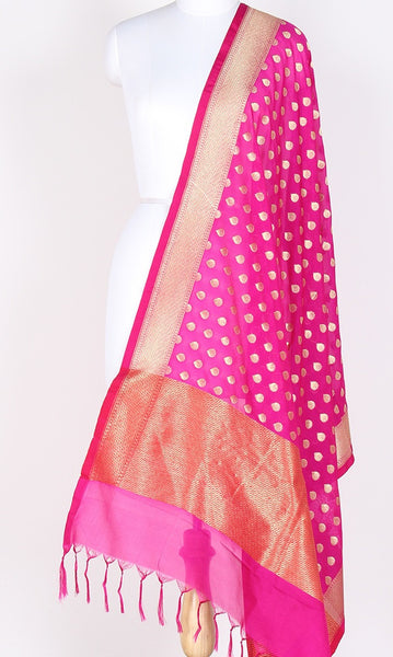 Pink Art Silk Banarasi dupatta with flower bud motifs SSJB01N74 (1) Main