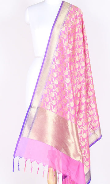 Pink Art Silk Banarasi dupatta with flower jaal and zari work SSJB01N76 (1) Main