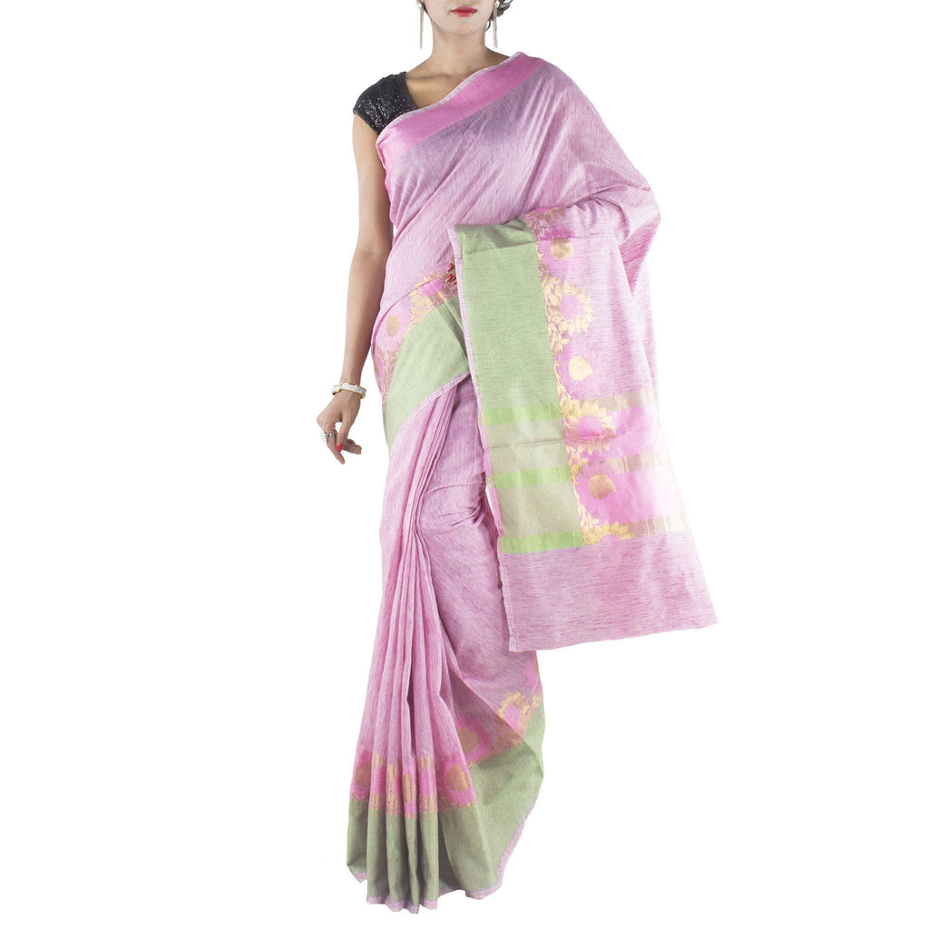 Pink Art Silk Cotton Saree with Floral motifs and zari work