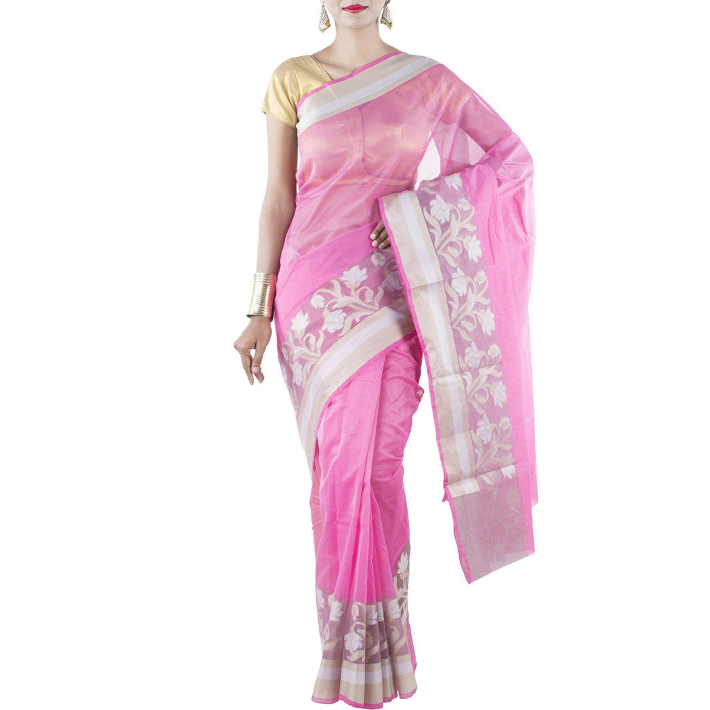 Pink Art Silk Cotton Saree with woven Floral motifs