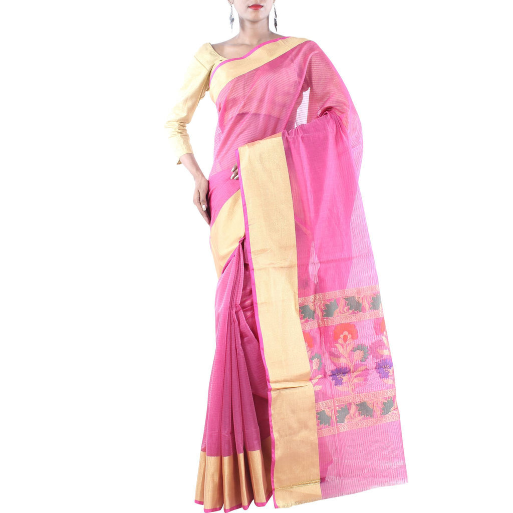 Pink Art Silk Saree with Floral Anchal and Zari work