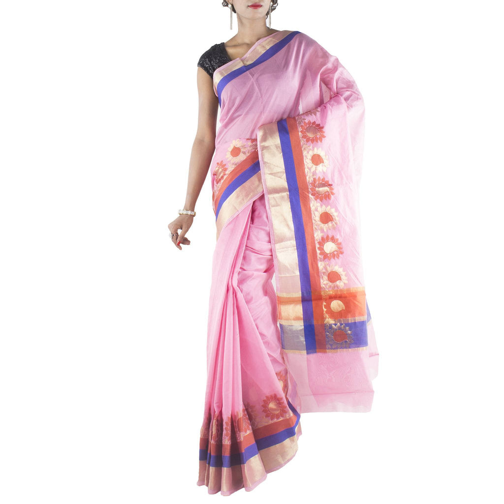 Pink Art Silk Saree with Floral jaal and zari work