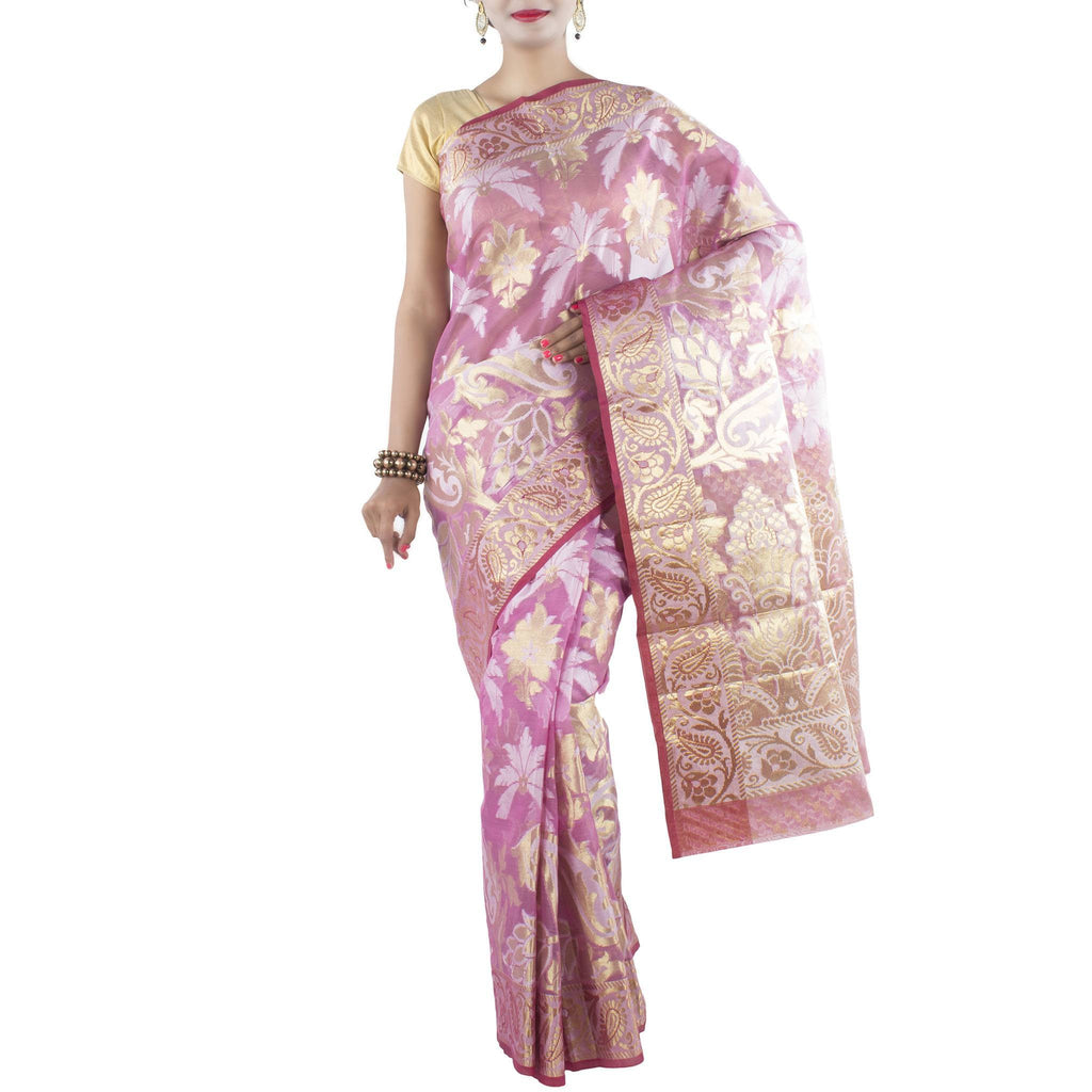 Pink Art Silk Saree with Plam leaf motifs and zari work