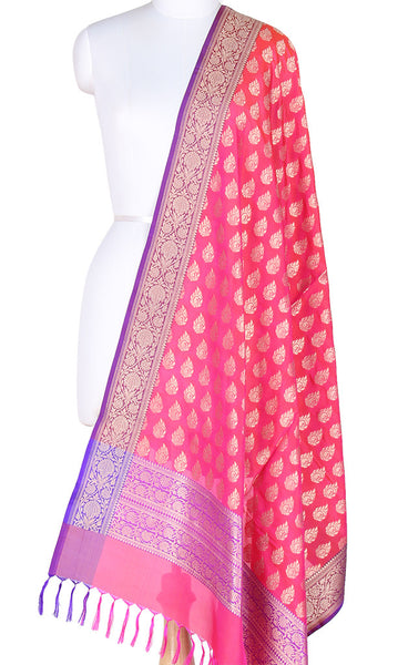 Pink Banarasi Silk Dupatta with Aesthetic paisley in leaf booti PCPBD03S22 (1) Main