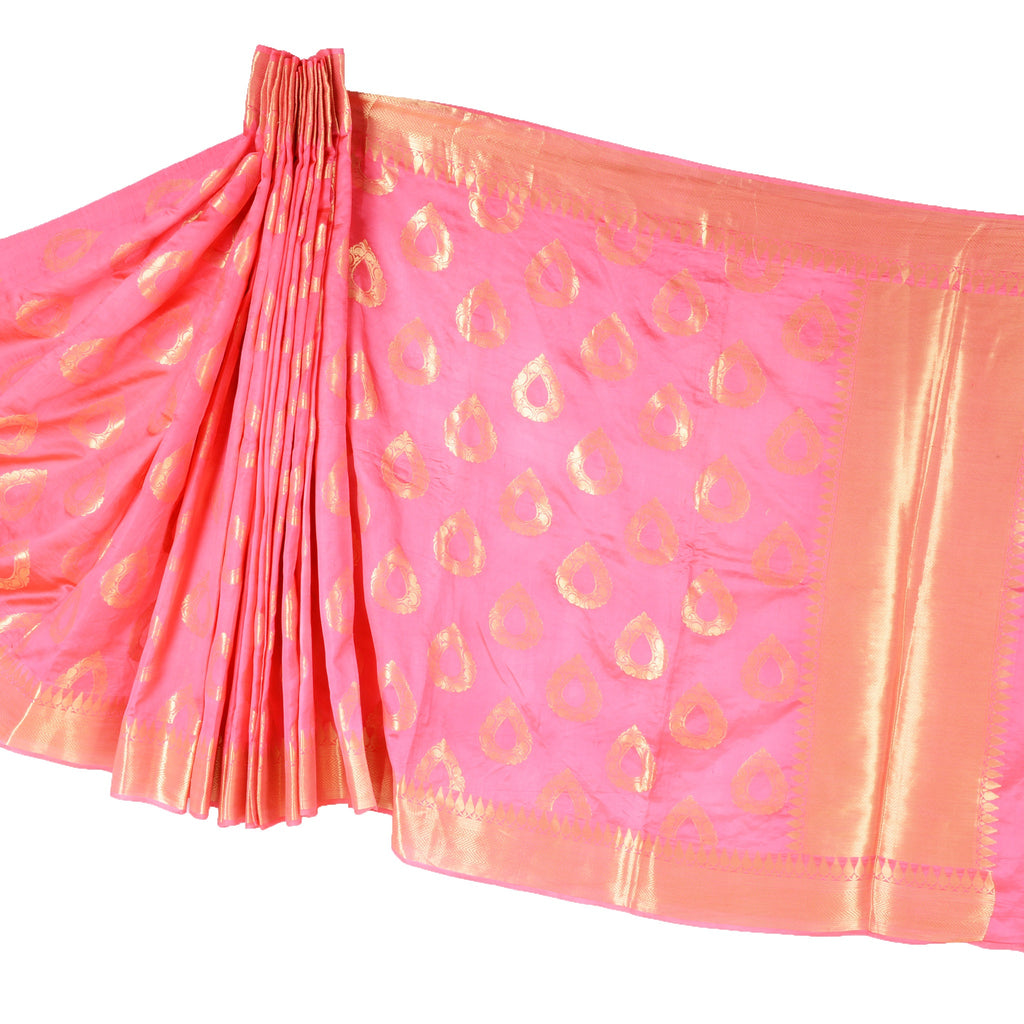 Pink Banarasi Silk saree with stylized drop motifs