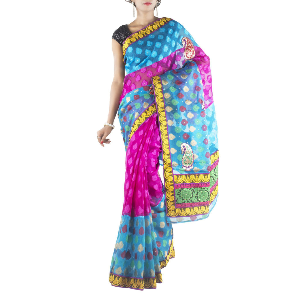 Pink Blue Art Silk Saree with Leaf motifs and stone work