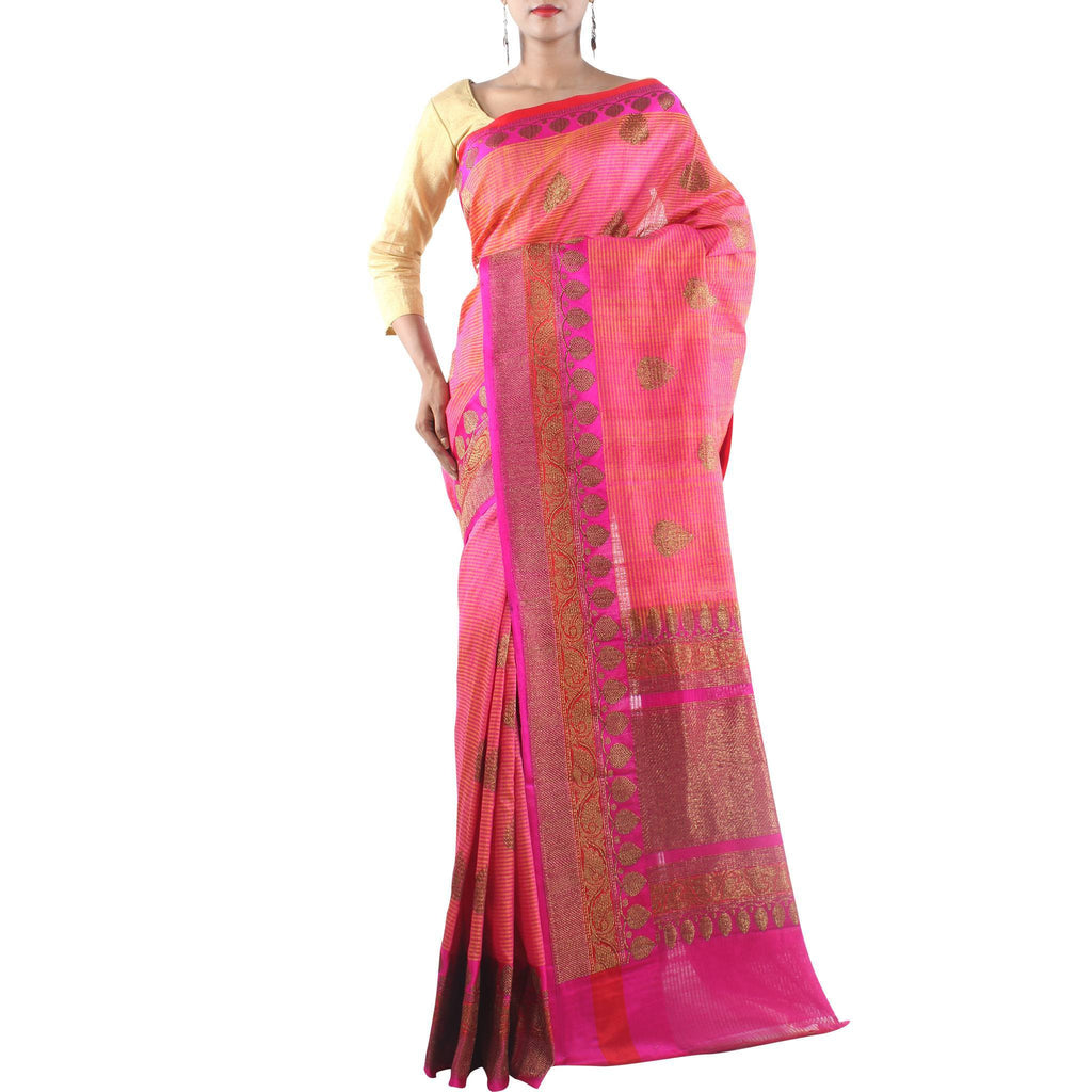 Pink Handwoven Dupion Silk Saree with Kaduwa Booti and Zari work