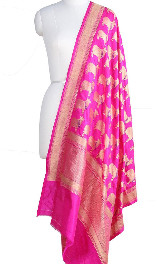 Pink Katan Silk Banarasi Dupatta with cow motifs and zari work Main Image