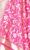 Pink Katan Silk Banarasi Dupatta with meenedar floral jaal PCARS03S03 (2) CLOSE UP