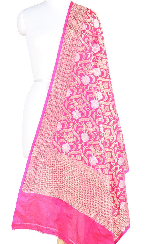 Pink Katan Silk Banarasi Dupatta with stylized jaal and zari work PCRVD01B08 (1) Main