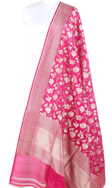 Pink Katan Silk Handwoven Banarasi dupatta with flower jaal PCARS05KS17 (1) Main