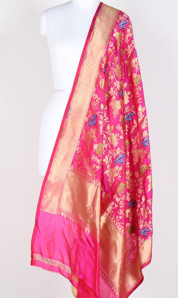 Pink Katan Silk Hanwoven Banarasi Dupatta with flower and butterfly jaal PCRVDKS03BY02 (1) Main