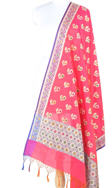 Pink Orange Art Silk Banarasi Dupatta with multi color peacock motifs 10000315300006VP329 (1) Main