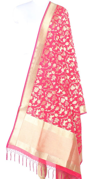 Pink Red Art Silk Banarasi Dupatta with Shikargah jaal 10000375100007PR338 (1) Main