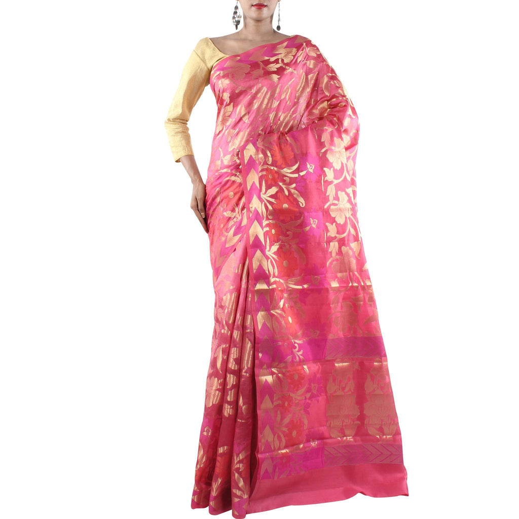 Pink Silk saree with Floral jaal and Zari work