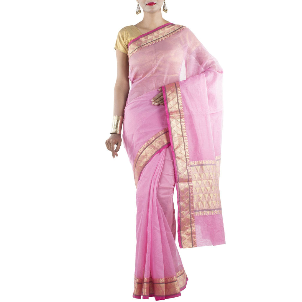 Pink Supernet Art Silk Cotton Saree with Zari work