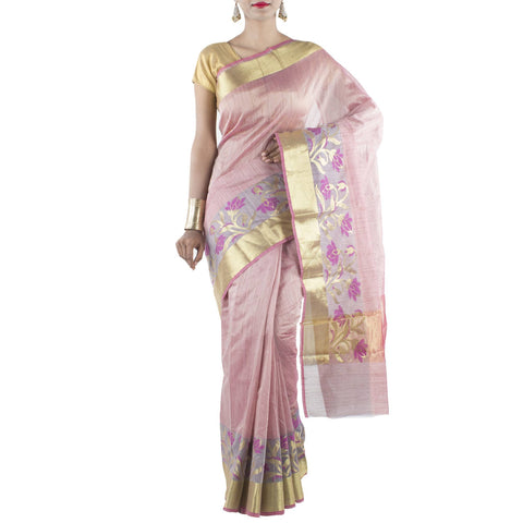 Pink color Art Silk Cotton Saree with Floral jaal and Zari work