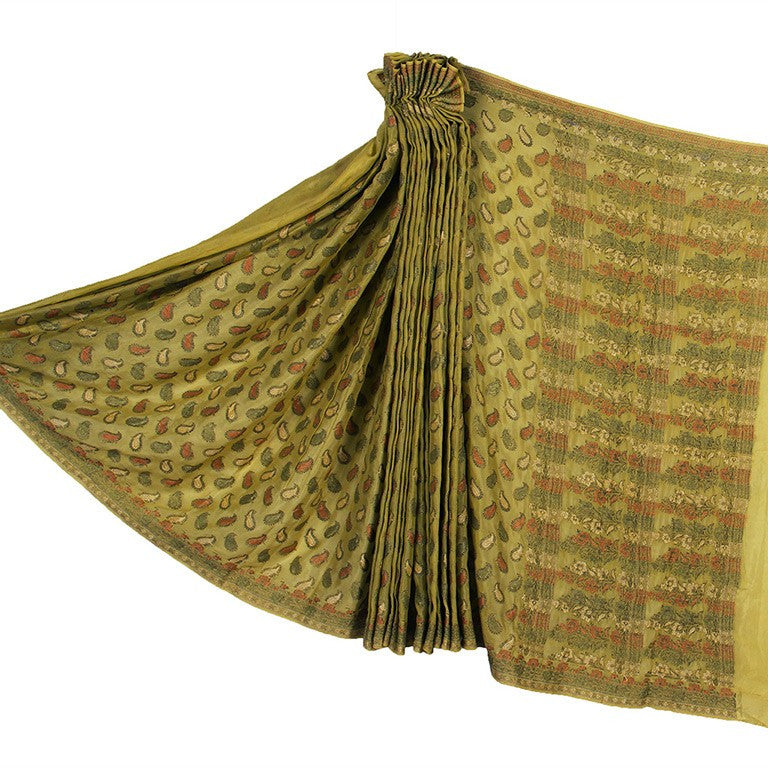 Pistachio Green Georgette Banarasi Silk Saree with Paisley booti