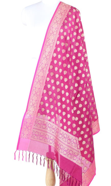 Plum Banarasi Silk Dupatta with mini lotus motifs PCPBD03S39 (1) Main
