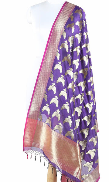 Purple Art Silk Banarasi Dupatta with bird pair motifs ZISSRVDAS655 (1) Main