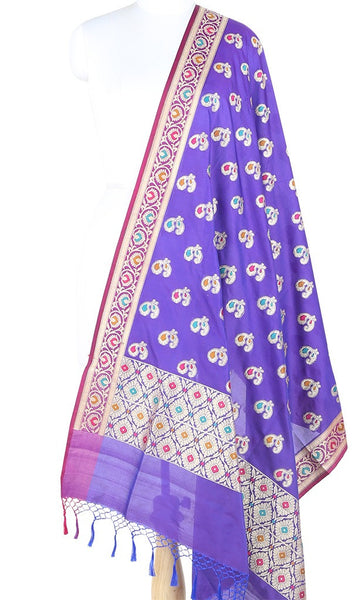 Purple Art Silk Banarasi Dupatta with multi color peacock motifs 10000325300006BV268 (1) Main