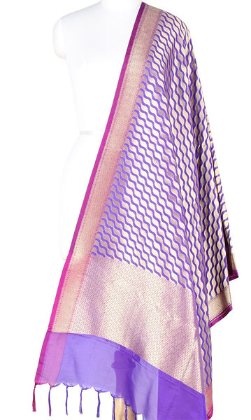 Purple Art Silk Banarasi Dupatta with stylized diagonal jaal PCJB01N65 (1) MAIN