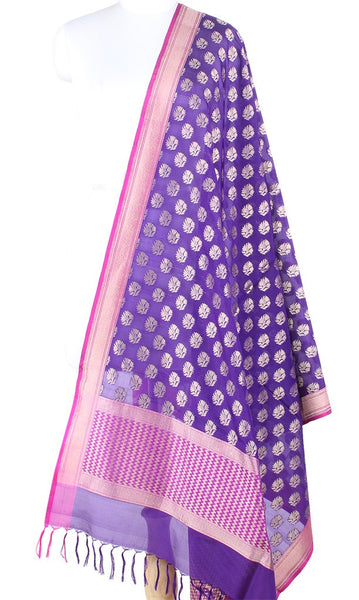 Purple Banarasi Silk Dupatta with artistic flower motifs PCPBD04S20 (1) Main
