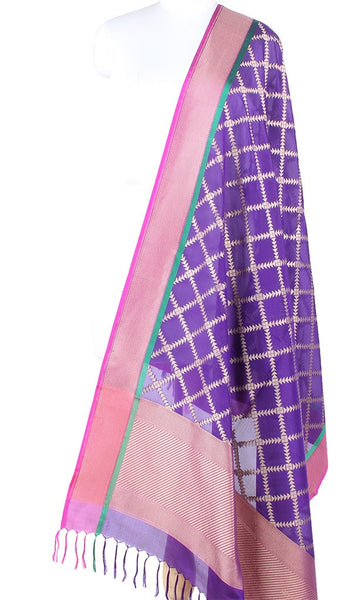 Purple Banarasi Silk Dupatta with geometrical grid pattern PCPBD03S31 (1) Main