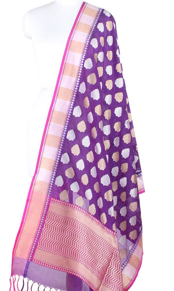 Purple Banarasi Silk Dupatta with leaf motifs in dual zari PCPBD01SG13 (1) Main