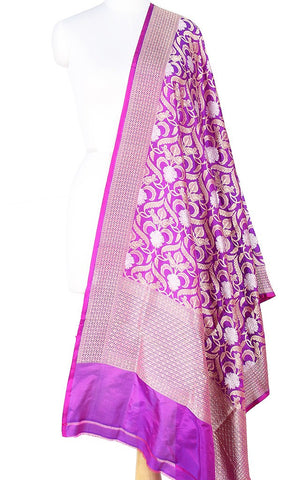 Purple Katan Silk Banarasi Dupatta with stylized jaal and zari work Main Image