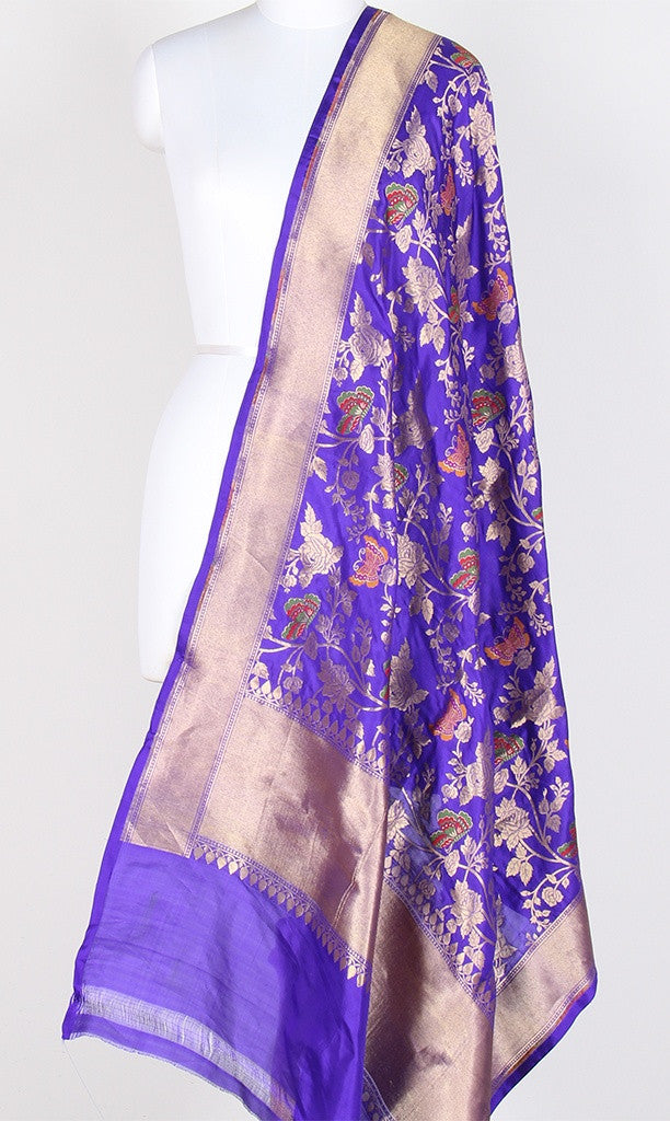 Purple Katan Silk Hanwoven Banarasi Dupatta with flower and butterfly jaal PCRVDKS03BY04 (1) Main