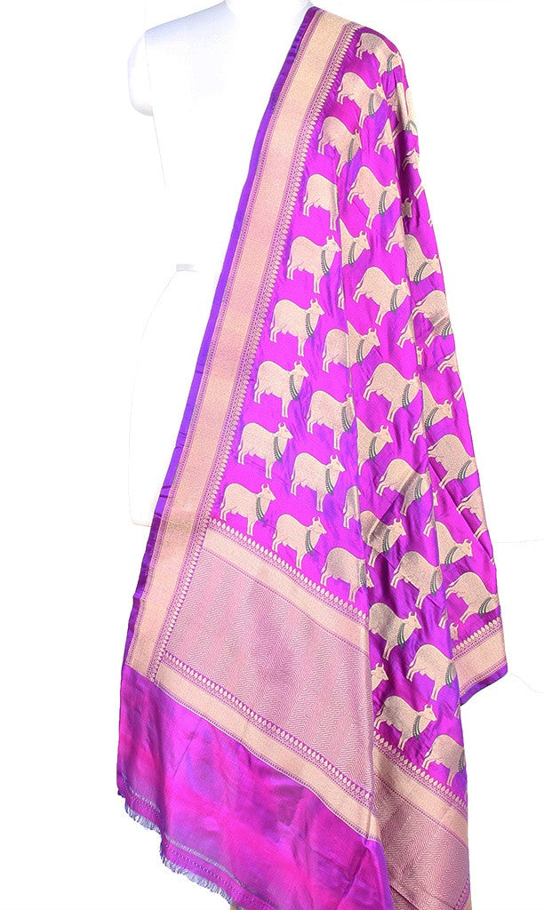 Purple Katan silk Banarasi dupatta with cow motifs (PCRVD02C07) (1) Main