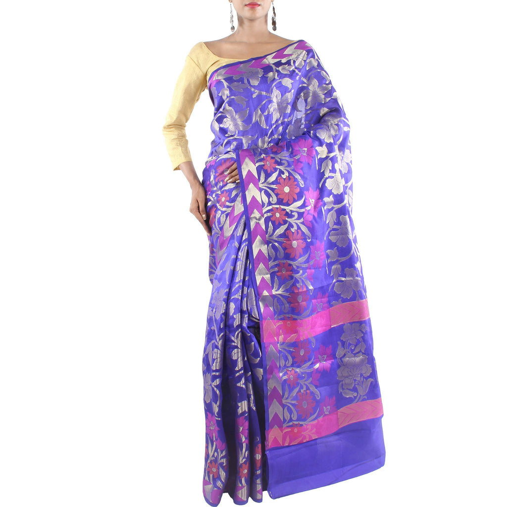 Purple Silk Saree with Floral Jaal and Zari work