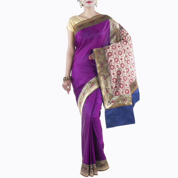 Purple Silk Saree with patched Valkalam designed anchal