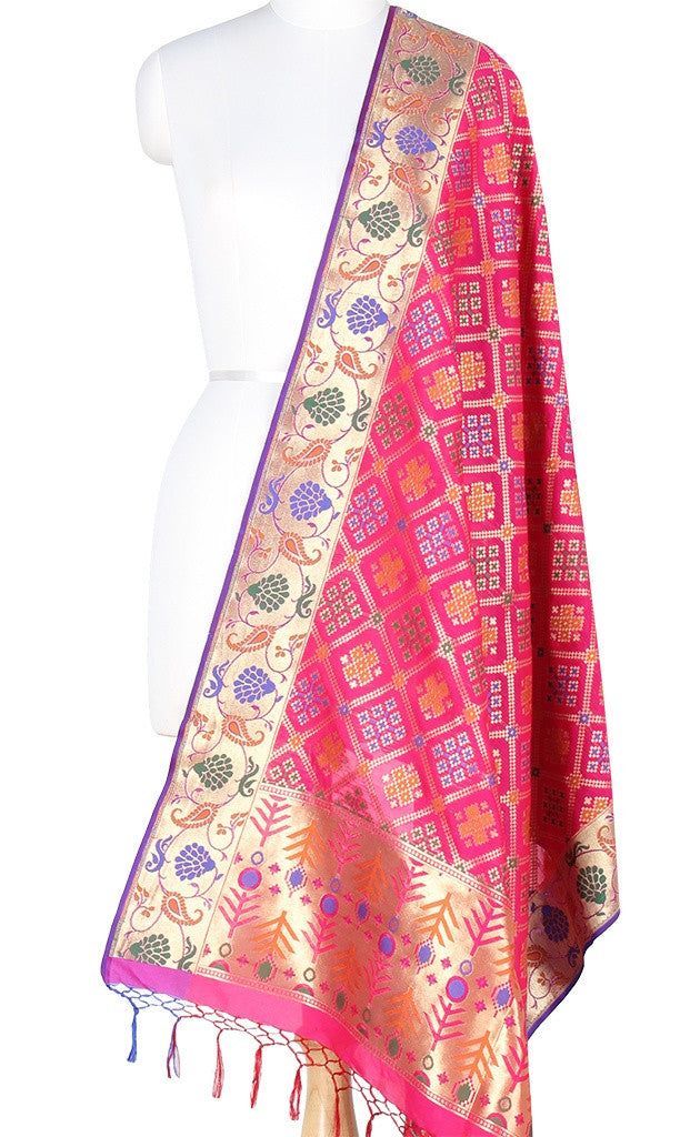 Rani Pink Art Silk Banarasi Dupatta with patan patola design and paithani border PCRVD01P12 (1) Main