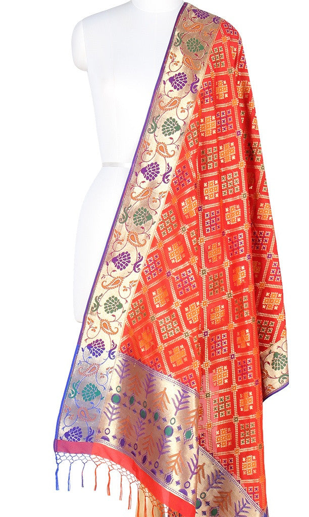 Red-Orange Pink Art Silk Banarasi Dupatta with patan patola design and paithani border PCRVD01P14 (1) Main