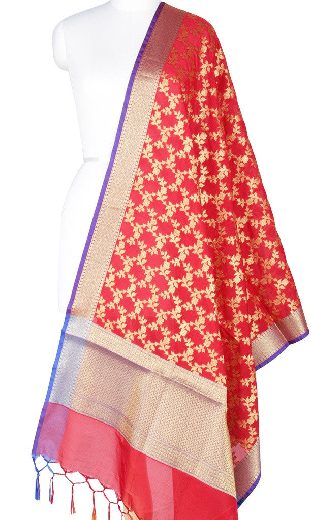 Red Art Silk Banarasi Dupatta with Aesthetic floral jaal Main Image