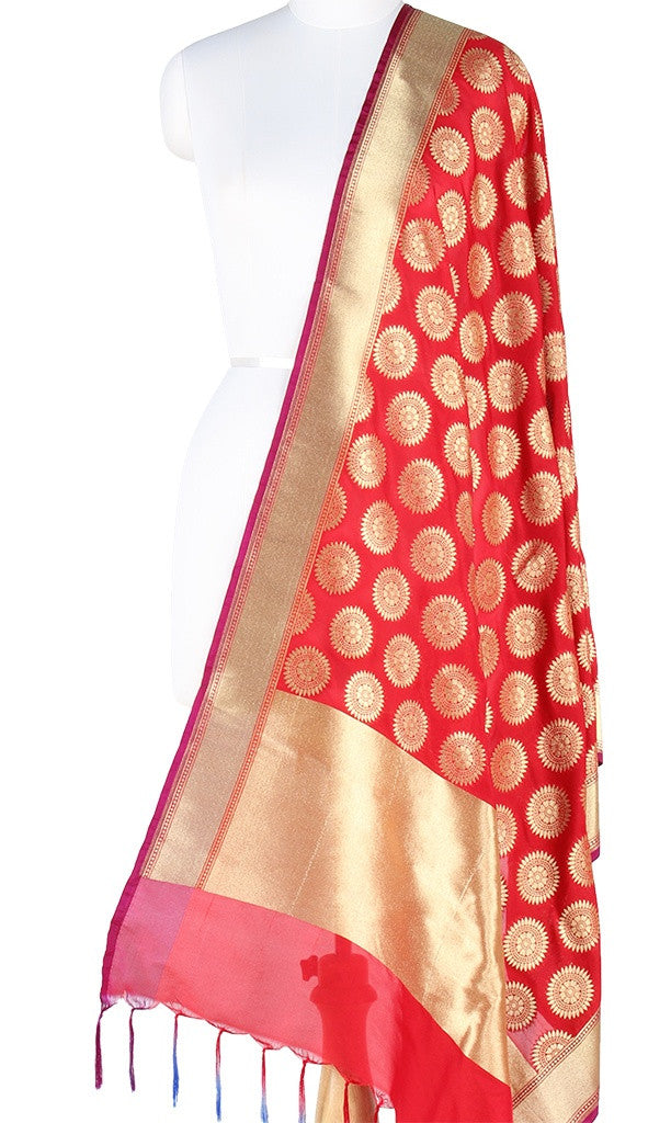 Red Art Silk Banarasi Dupatta with aesthetic sun motifs PCJB01N117 (1) Main