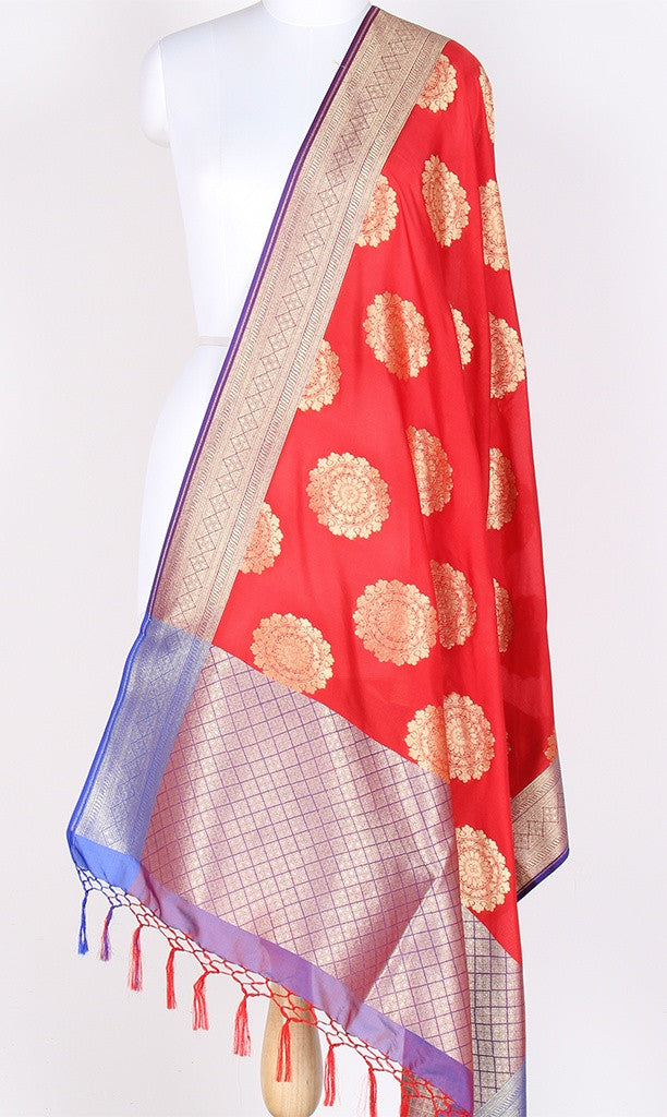 Red Art Silk Banarasi Dupatta with big circular boota SSRVD01BG02 (1) Main